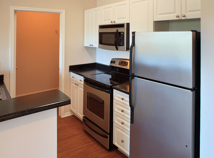 The Lodge at Crossroads model suite kitchen in Cary, North Carolina
