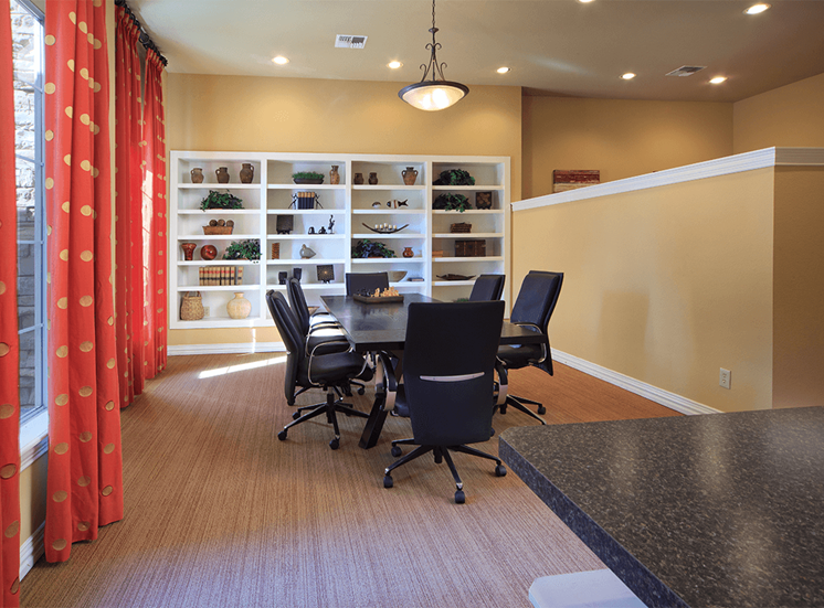 The Lodge at Crossroads apartments business center in Cary, North Carolina