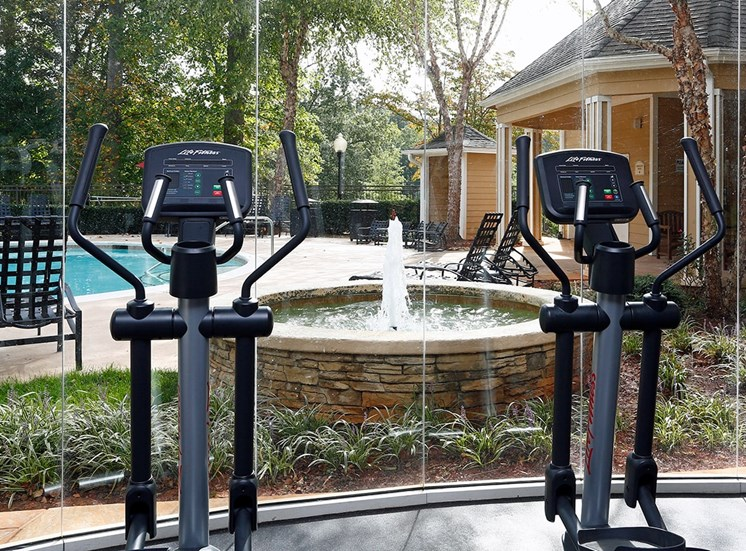 The Lodge at Crossroads apartments fitness center in Cary, North Carolina