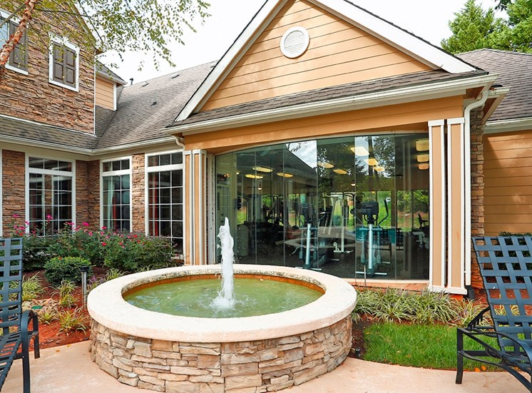 The Lodge at Crossroads apartments fountain in Cary, North Carolina