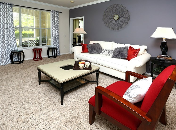 The Lodge at Crossroads model suite living area in Cary, North Carolina