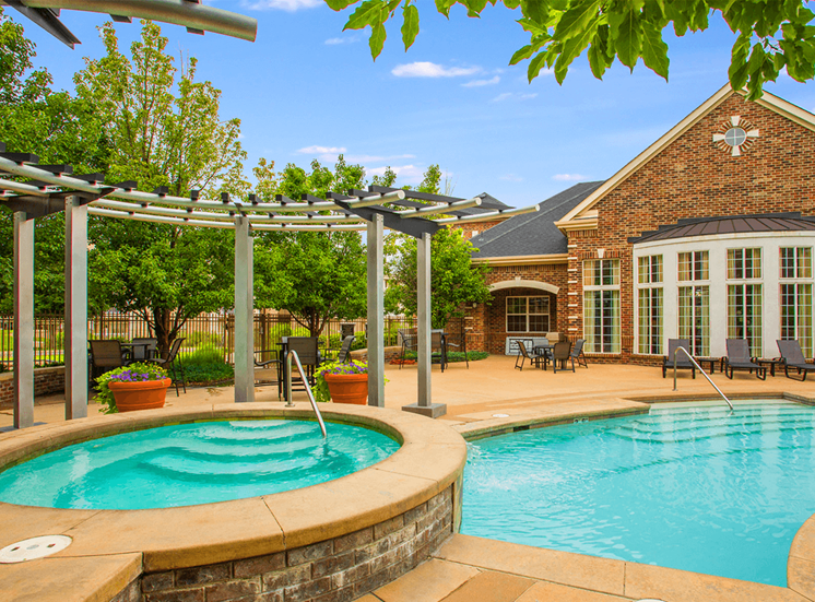 Retreat at City Center apartments swimming pool and hot tub in Aurora, Colorado