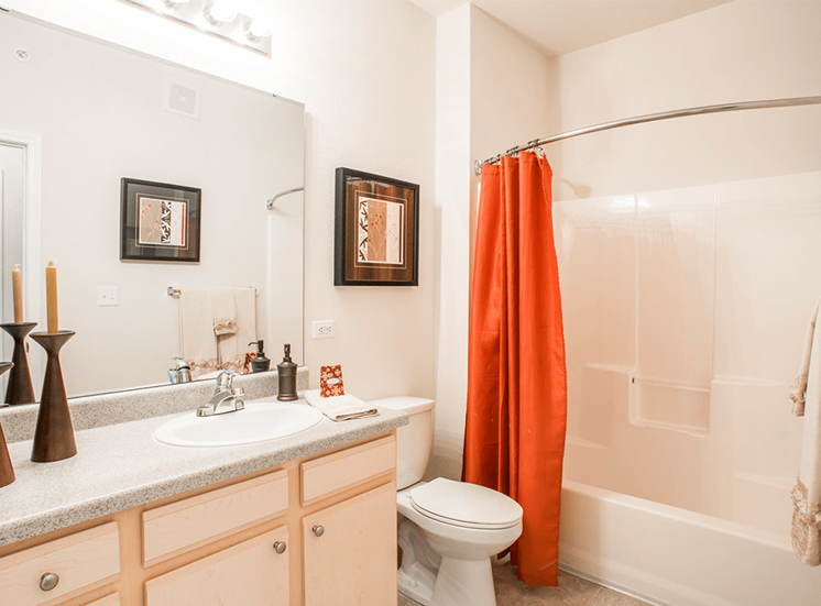 Settlers' Creek model suite bathroom in Fort Collins, Colorado