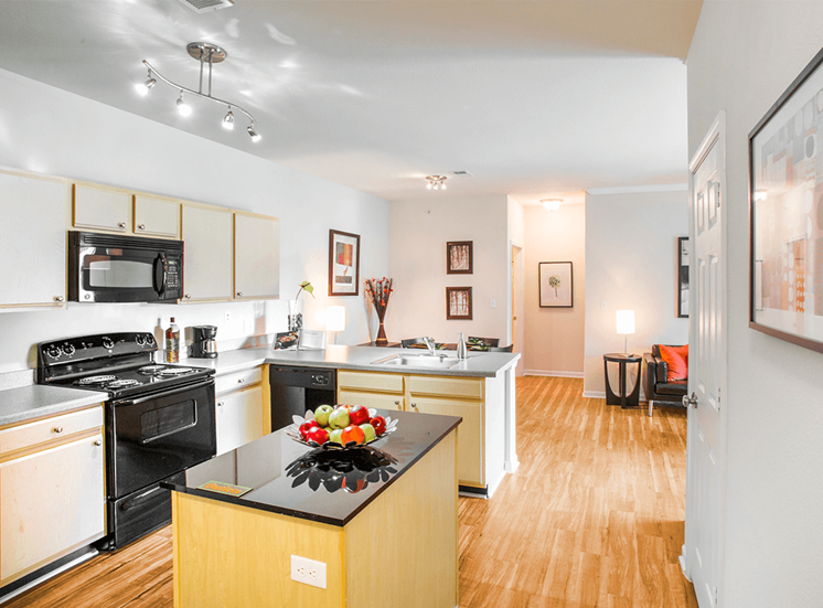 Settlers' Creek model suite kitchen in Fort Collins, Colorado