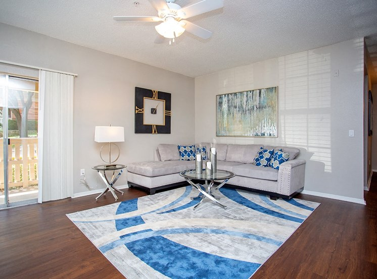 Verandah at Valley Ranch model suite living room in Irving, Texas