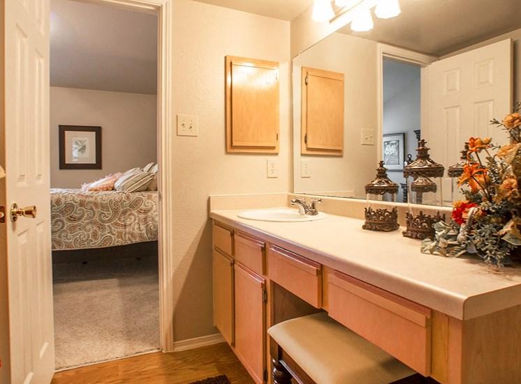 Retreat at Spring Park model suite bathroom in Garland, TX