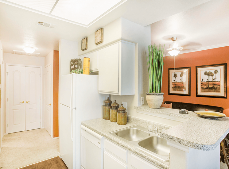 Grand Venetian model suite kitchen in Irving, Texas