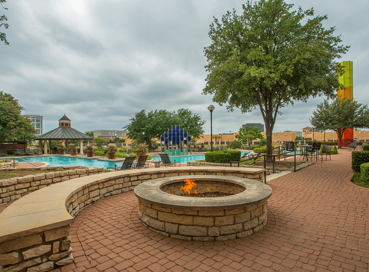 Grand Venetian apartments poolside fire pit in Irving, Texas
