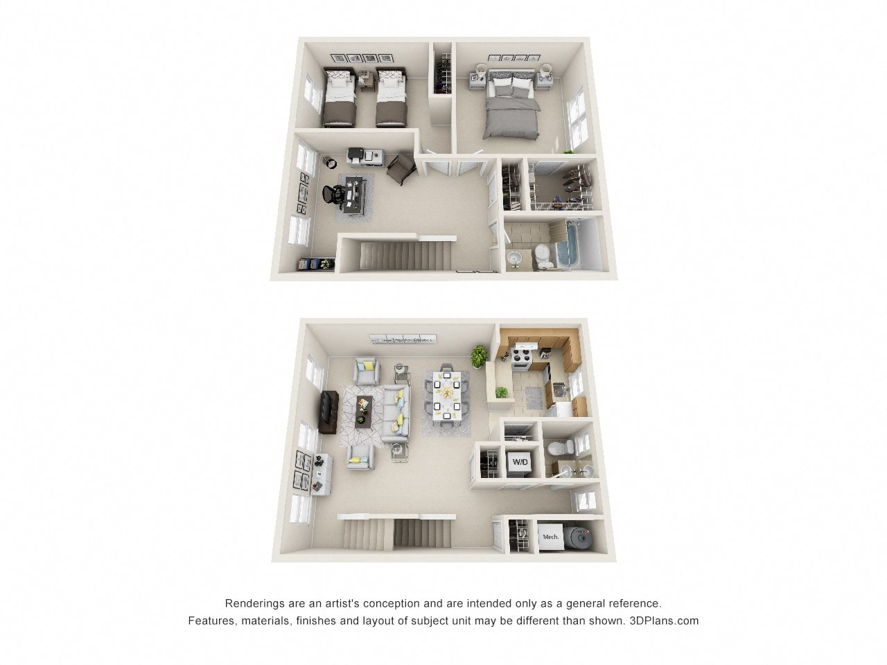 2 Bedroom Townhouse Floor Plan 3