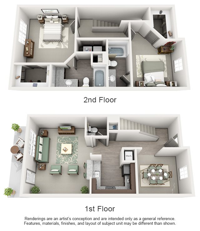 The Estates at Johns Creek Apartment Homes - 2 Bedroom 2.5 Bath Apartment