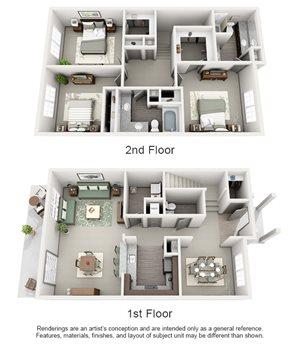 The Estates at Johns Creek Apartment Homes - 3 Bedroom 2.5 Bath Apartment