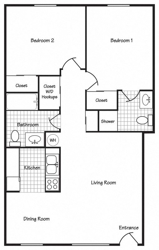 2 Bedroom 2 Bathroom Floor Plan 1
