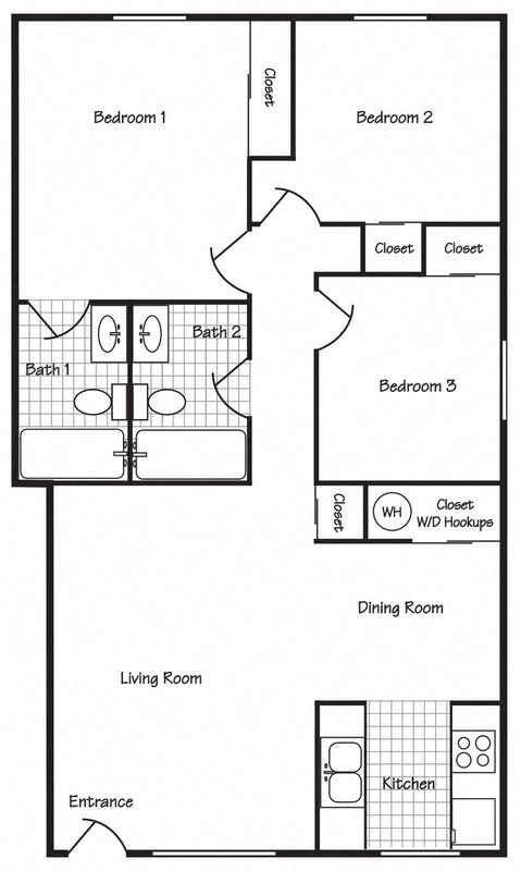 3 Bedroom 2 Bathroom Floor Plan 2