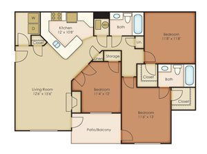 3 Bedrooms/2 Bathrooms