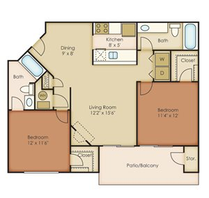 2 Bedroom / 2 Bathrooms