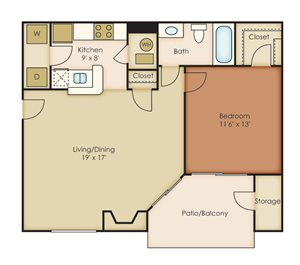 1 Bedroom / 1 Bathroom B