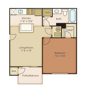 1 Bedroom / 1 Bathroom A