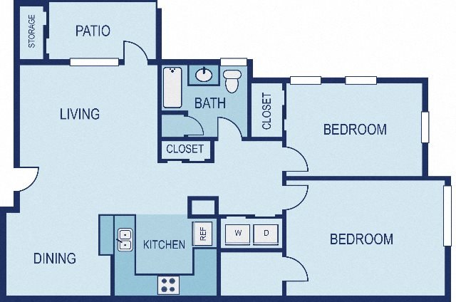 2 Bed / 1 Bath - Upgraded Floor Plan 2