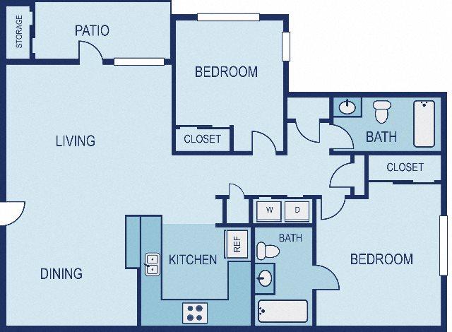 2 Bed / 2 Bath - Upgraded Floor Plan 3