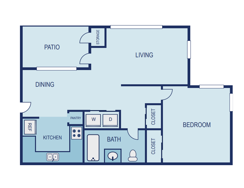 1 Bed / 1 Bath - Upgraded Floor Plan 1