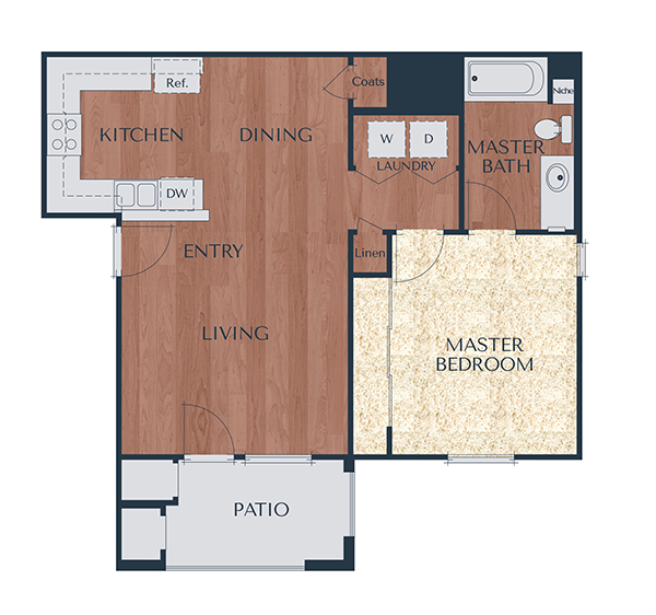 1a-1 Bedroom, 1 Bath