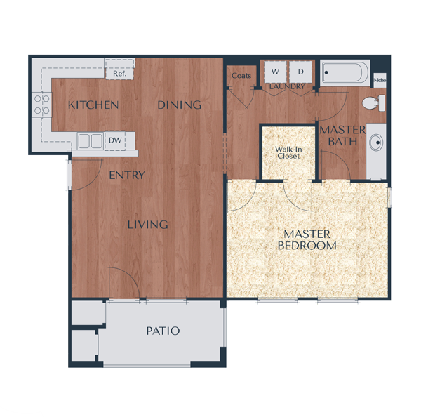1b-1 Bedroom, 1 Bath Floor Plan 2