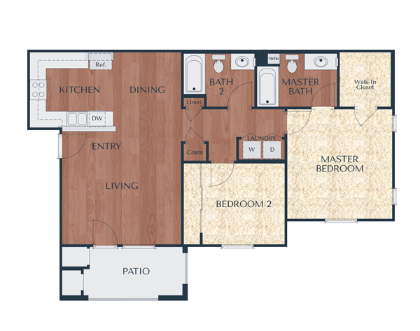 2a-2 Bedroom, 2 Bath Floor Plan 3