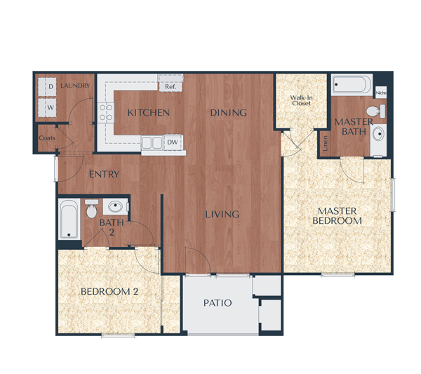 2b-2 Bedroom, 2 Bath Floor Plan 4