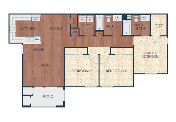 3a-3 Bedroom, 2 Bath Floor Plan 5