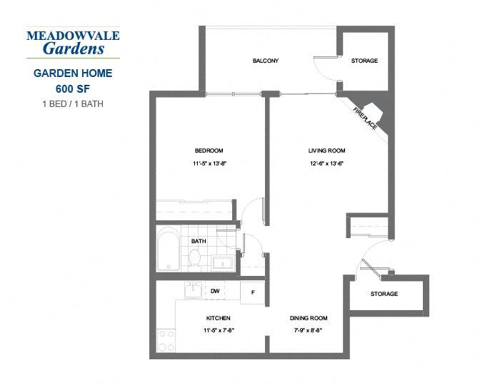 1 Bedroom, 1 Bathroom Apartment   Meadowvale Gardens
