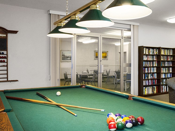Amenities Room with Pool Table And Library