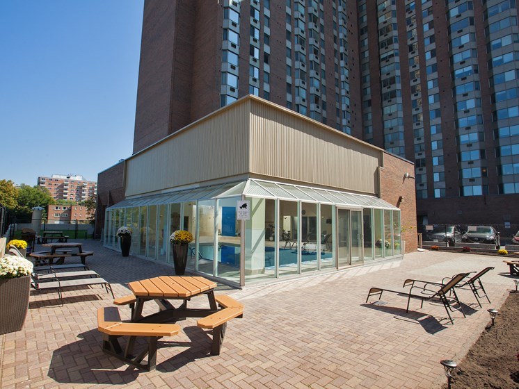 Outdoor Private Terrace with BBQ, Picnic Tables & Lounge Chairs