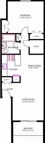 1 Bedroom 3rd Floor w/Balcony, Vaulted Ceiling & Skylights