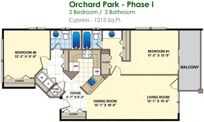 Cypress (2/2) Floor Plan 12
