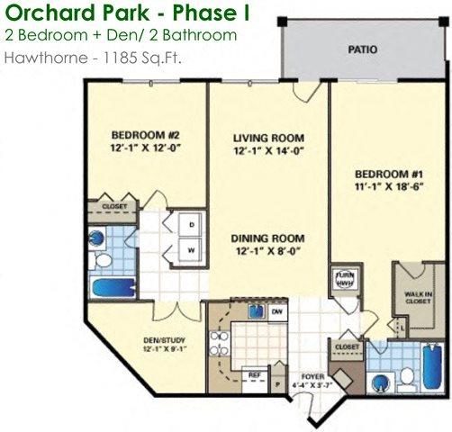 Hawthorne (2/2) Floor Plan 16
