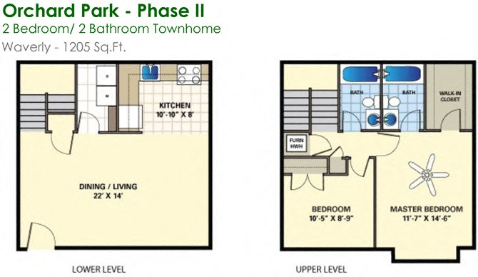 Waverly (2/2) Floor Plan 15