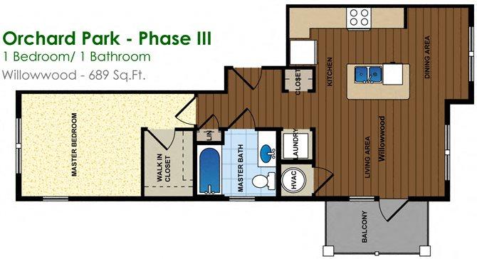 Willowwood (1/1) Floor Plan 3