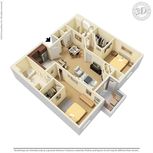 Plan E - 2 bed 2 bath 1086 Floor Plan 3