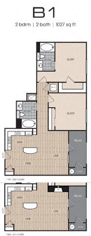 2 Bedrm 2 Bath 1027 Floor Plan 12