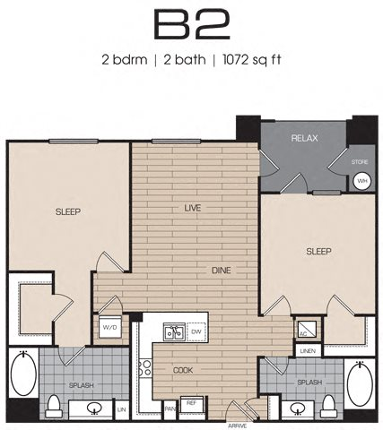 2 Bedrm 2 Bath 1072 Floor Plan 13