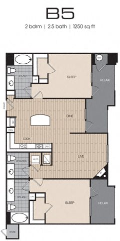 2 Bedrm 2 Bath 1250 Floor Plan 18