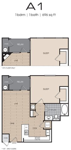 1 Bedrm 1 Bath 696 Floor Plan 1