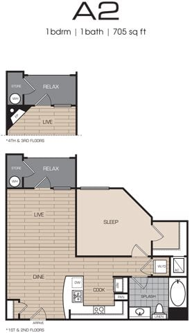 1 Bedrm 1 Bath 705 Floor Plan 2