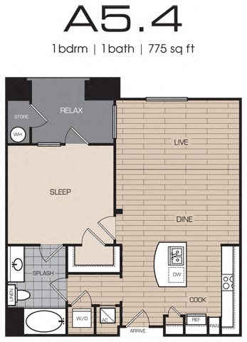 1 Bedrm 1 Bath 775 Floor Plan 4