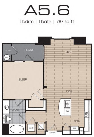 1 Bedrm 1 Bath 787 Floor Plan 6