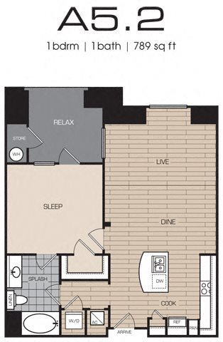 1 Bedrm 1 Bath 789 Floor Plan 7