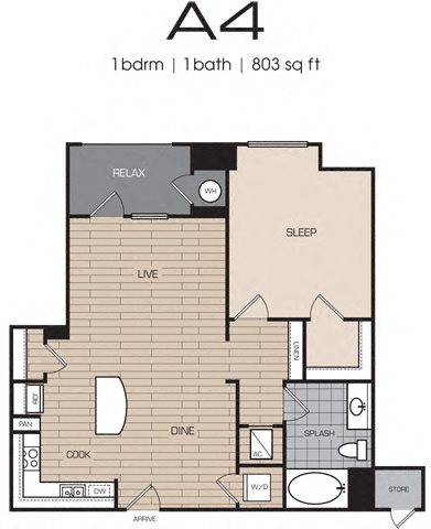 1 Bedrm 1 Bath 803 Floor Plan 8