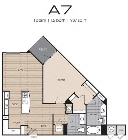 1 Bedrm 1 Bath 937 Floor Plan 11
