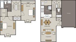 Deerfield Townhomes - 2 Bedroom 1.5 Bath Townhome