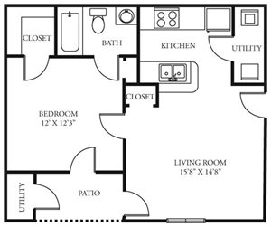 Coursey Place Apartment Homes - 1 Bedroom 1 Bath Apartment